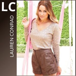 LC Lauren Conrad NWT faux leather shorts 12 brown